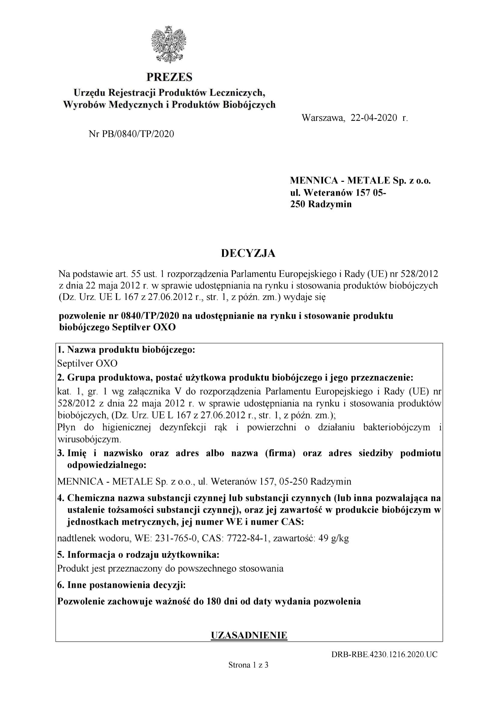 Septilver OXO –  Pozwolenie na udostępnienie i stosowanie